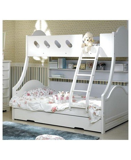 Cloudy Timber Trio Bunk Bed with Trundle