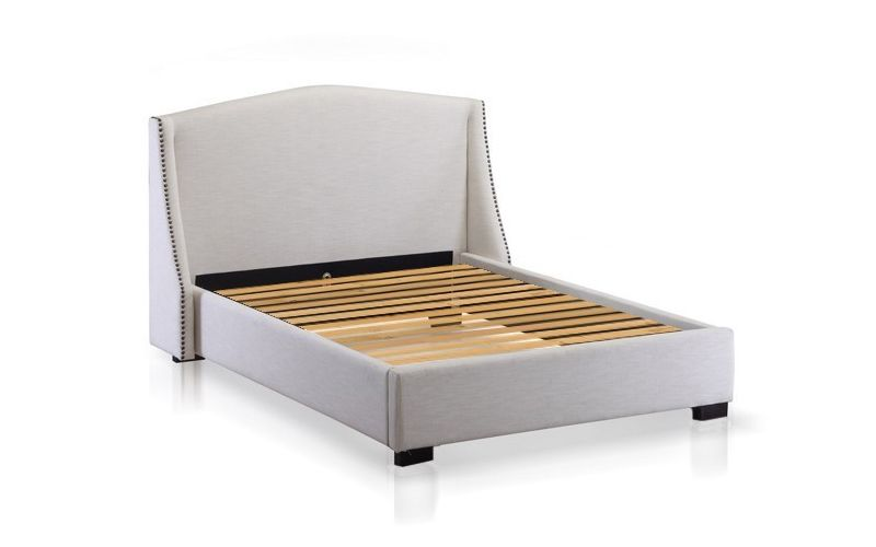 Balmoral upholstered natural linen bed frame for Padded bed frame