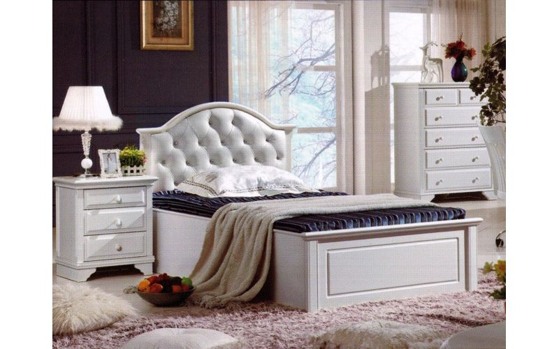 Iris White Bed Frame With Leather Look Bedhead