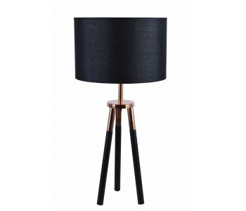 Black Tripod With Copper Table Lamp In Black/White