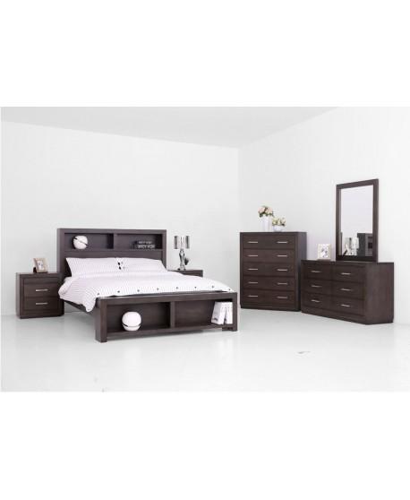Ally Tas Oak Bookcase Bed In Walnut Colour