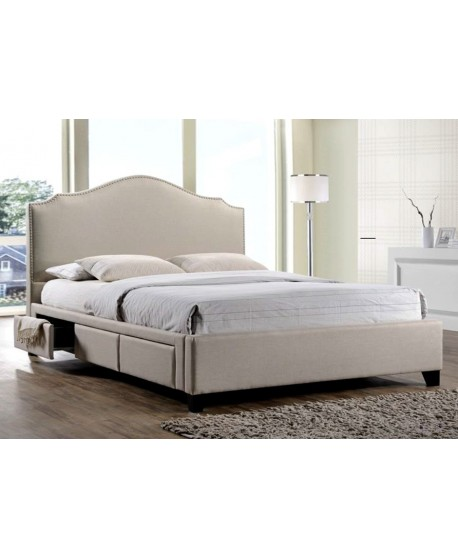 Sydney 3 Drawers Bed Frame in Light Beige Fabric