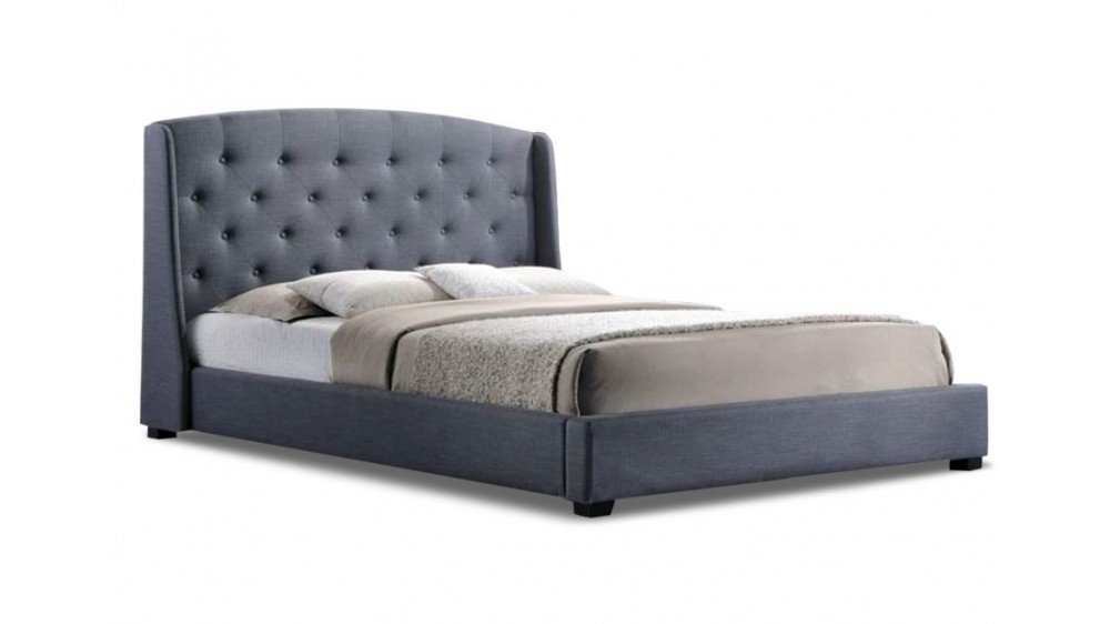 Parry Upholstered Bed Frame In Grey Colour