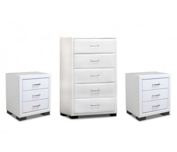 Combo 1 Tallboy & 2 Bedside Tables In White