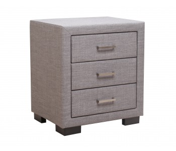Letti 3 Drawers Bedside in Linen Fabric