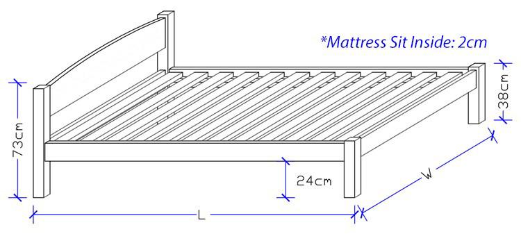 Custom Timber Bed Frame Design - Dimensions