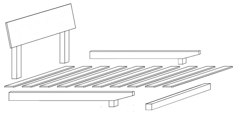 European Floating Timber Bed Flock Down Drawings
