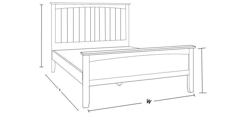 Check the Brittany Timber Bed Frame Dimension Drawing to Measure The Size