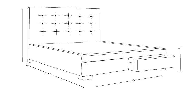Check that Bronte 2 Drawer Bed Frame Dimension Drawing To Measure the Size!
