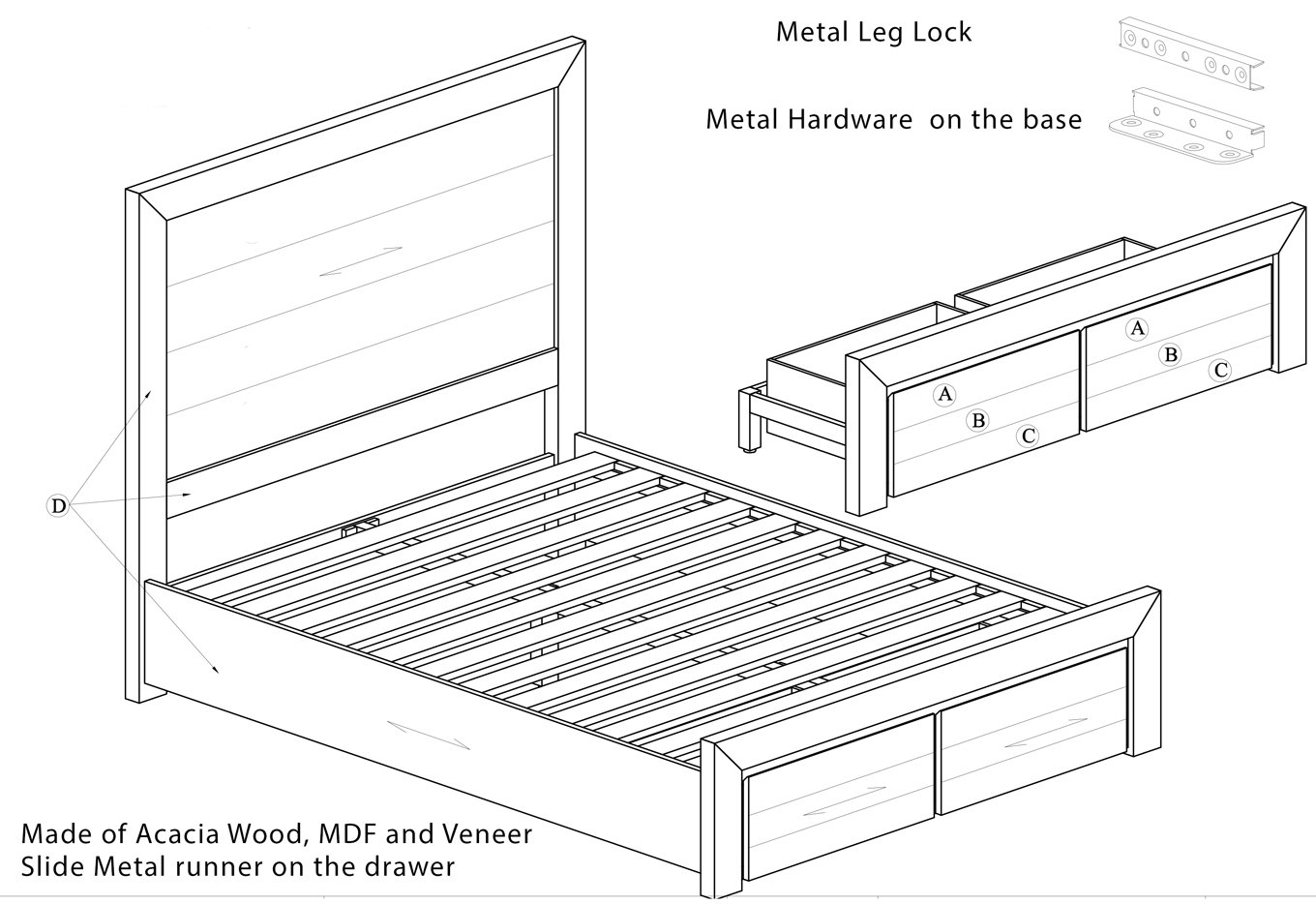 Chateau Timber Storage Bed Frame Dimension Drawing