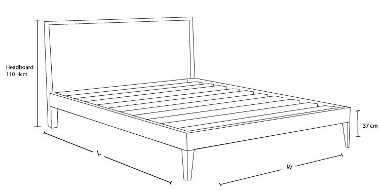 Check out the dimension drawing of Miami Custom Timber Bed Frame and Measure the Size!