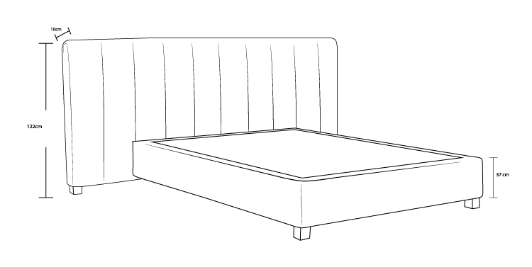 Panelled Custom Upholstered Bed Frame and Wide Head Board Dimension Drawing