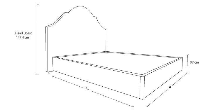 Check out the dimension drawing of Royal Custom Bed with Choice of Bases and measure the size!