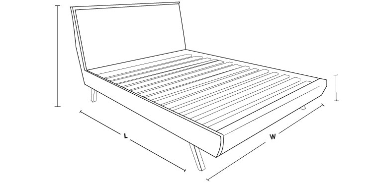 Check out the dimension drawing of Royal Custom Bed with Choice of Bases !