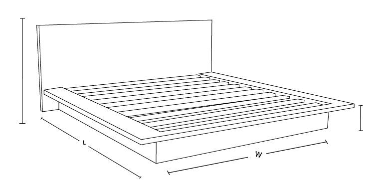 Tokyo Custom Timber Platform Bed Frame Dimension Drawing