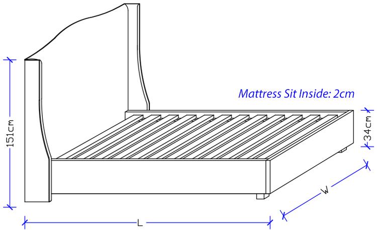 Curved Wing Upholstered Bed Frame - Custom Made