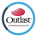 OUTLAST® is a heat-regulating fabric especially designed for astronauts' space suits which contains millions of spheres made from a special wax that melts at a temperature of 36 degrees. When the night time temperature of the body rises, the excess heat is absorbed but when the temperature drops below the melting point, the spheres regain their shape and firmness and release the accumulated heat.