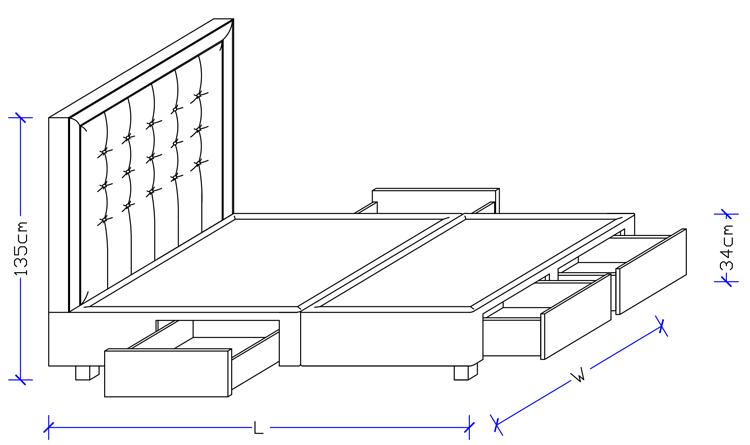 Custom Design Headboard with Storage Base