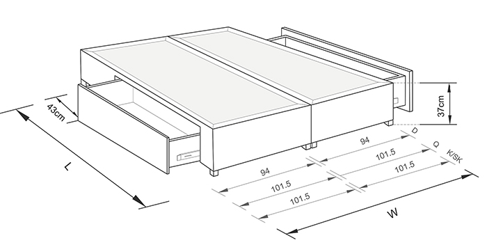 Stacey 2 drawer Queen size - Drawing
