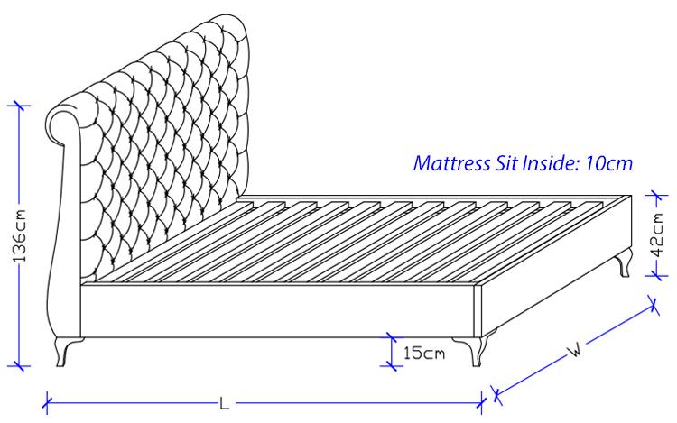 Aquarius Upholstered Bed Frame - Custom Made Bed
