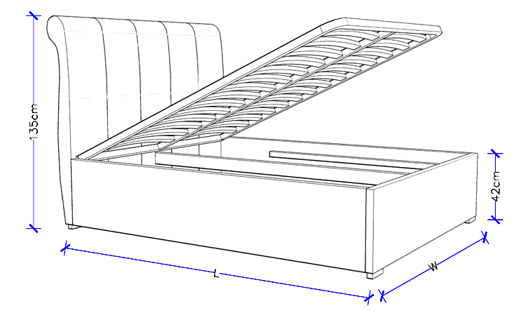 Custom Made Bed With Gas Lift Storage