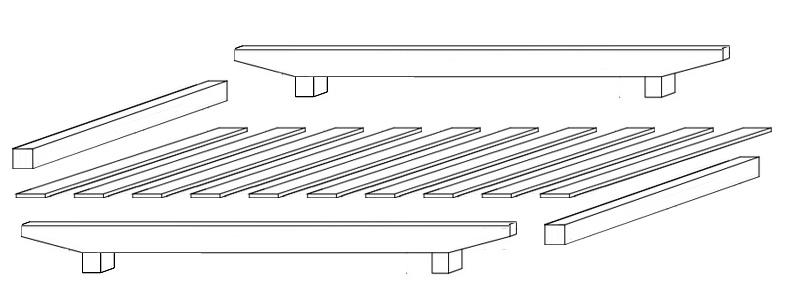 European Floating Bed Base Knock Down Design