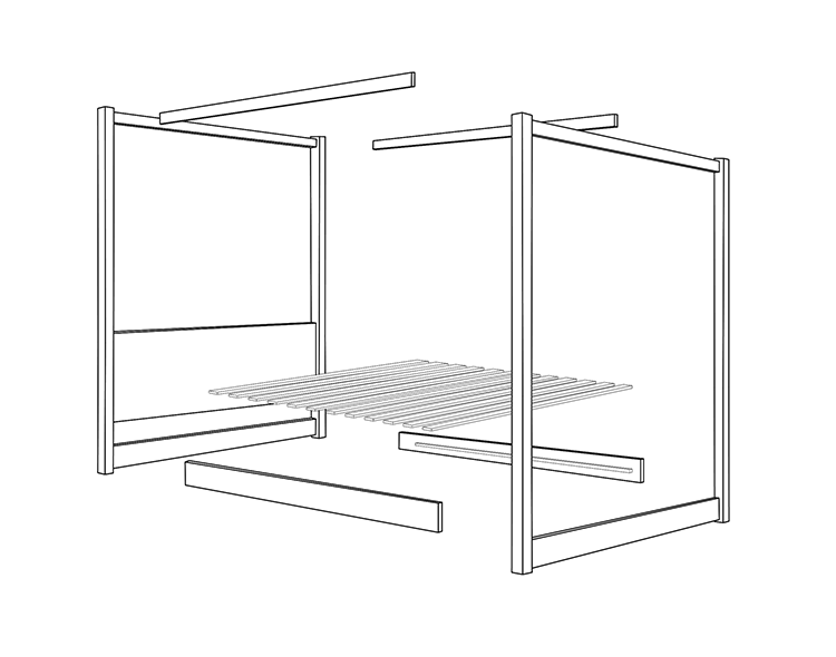 four poster bed frame drawing