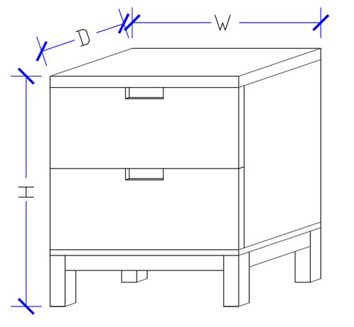 Honsho Timber Bedside 2 Drawers Dimension