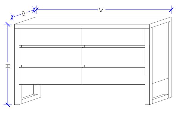 Custom Made Dresser 6 Drawers