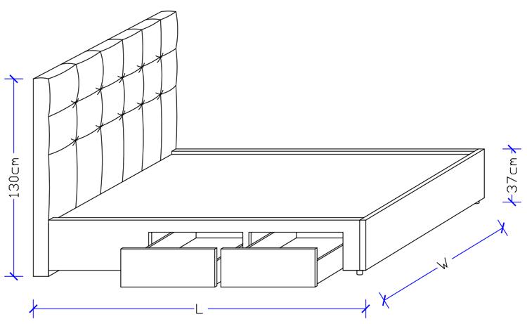 Luxury Australian Made Paddded Bed Frame - CAD Design