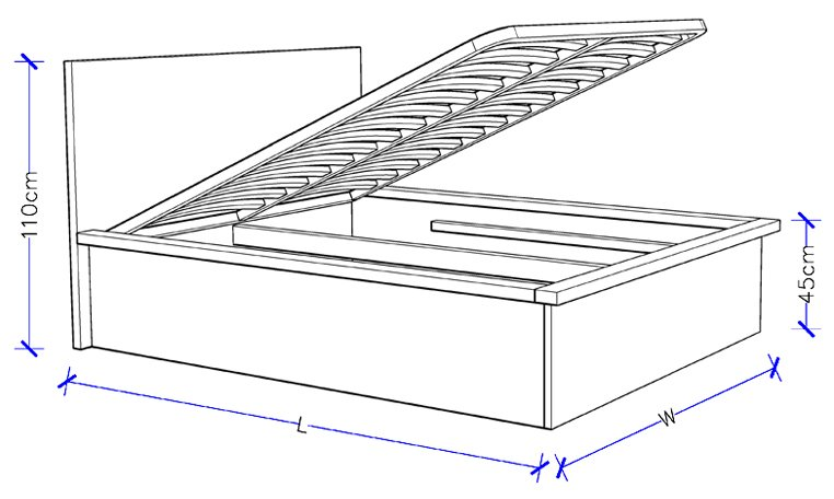 Timber Bed With Storage Custom Design - Spring Lift Storage Bed