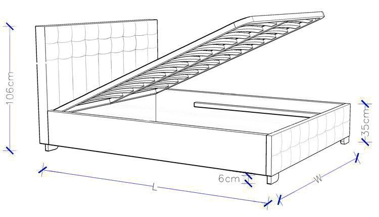 Charlotte Gas Lift Upholstered Bed Frame - Custom Made Bed
