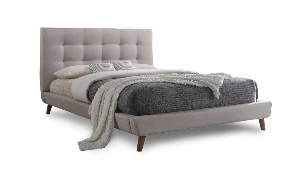 Milan Queen Bed Frame In Beige Fabric