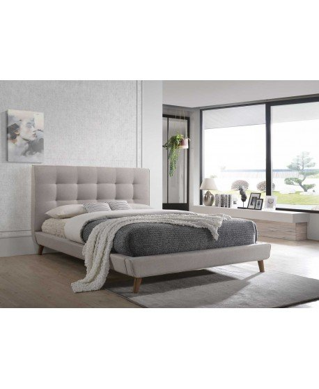 Milan Queen Bed Frame In Light Taupe Fabric