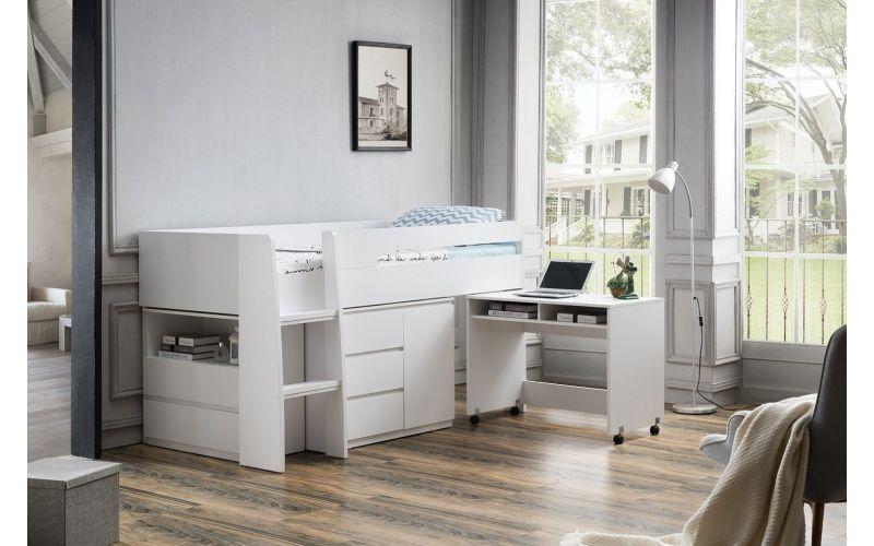 Jupiter Plus Loft Midi Sleeper Bed With Desk And Storage