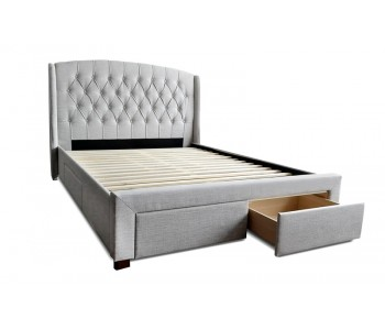 Norah 4-Drawer Wing Upholstered Bed Frame