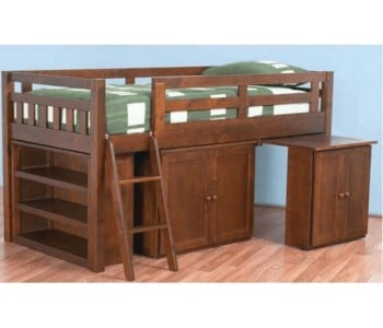 Aztec Kids Cabin Loft Bed in Walnut