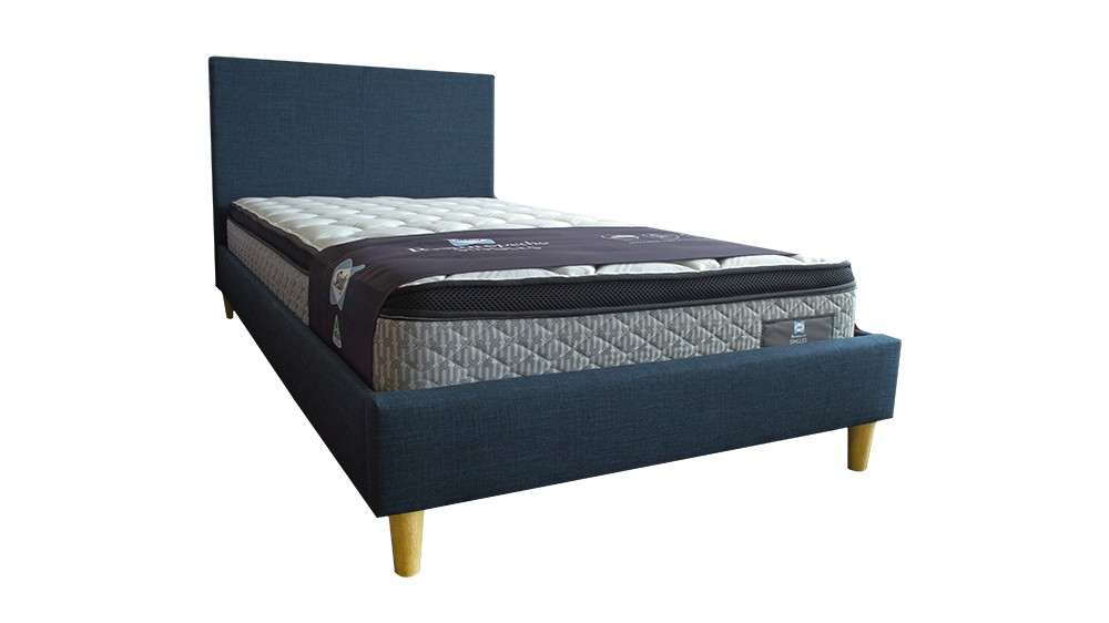 Rio Upholstered Kids Bed with Wooden Legs - Navy