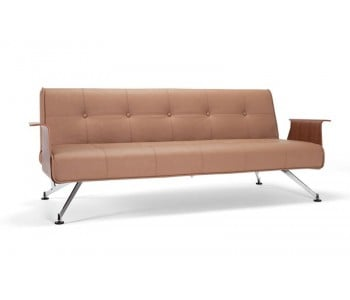 Clubber King Single Sofa Bed with Walnut Arms - Innovation Living