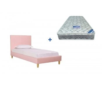 OP Deluxe Pillow Top Mattress + Rio Upholstered Bed Frame with Wooden Legs