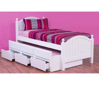 Kelly Captain Timber Bed Frame with Trundle Drawers