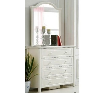 Iris White Dresser and Mirror