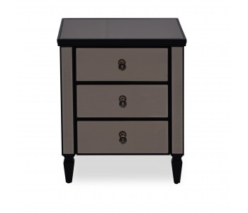 Hustle 3 Drawer Bedside in BRONZE Mirror Black Frame