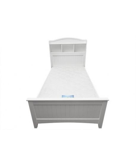 Chris Bookshelf Timber Bed Frame In White