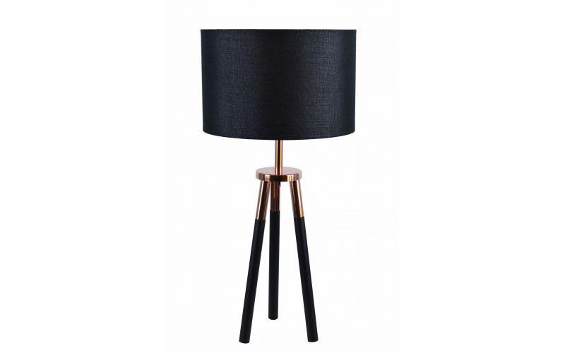 Black Tripod With Copper Table Lamp In Black White
