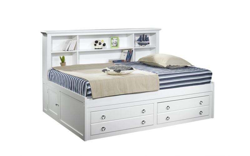 Victoria Lounge Day Bed In White Wash King Single