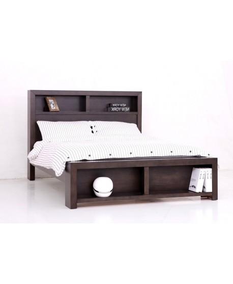 Ally Tasmanian Oak Bookcase Bed In Walnut Colour