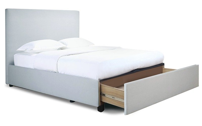 Nevada fabric bed frame with straight slats drawers for Fabric bed frame with storage