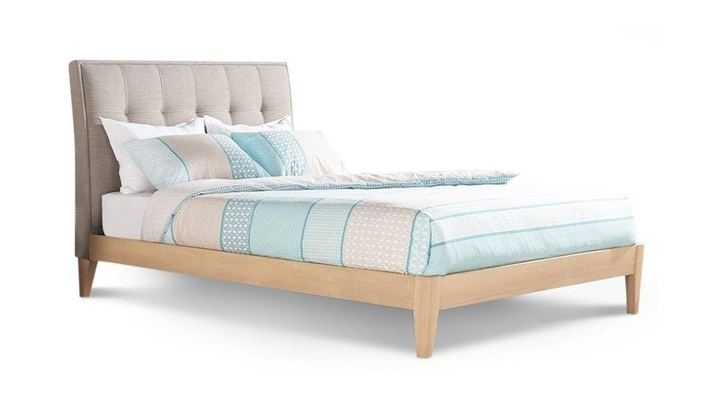 Ron Bed Frame with Straight Slats In Linen & Timber Frame