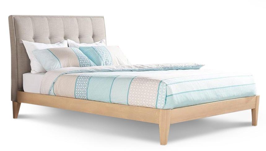 Ron bed frame with straight slats in linen timber frame - Platform bed frame australia ...